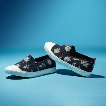Summer Breathable Shallow Mouth Floral Canvas Low Slip-On Flat Shoes - BLACK 37