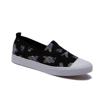 Summer Breathable Shallow Mouth Floral Canvas Low