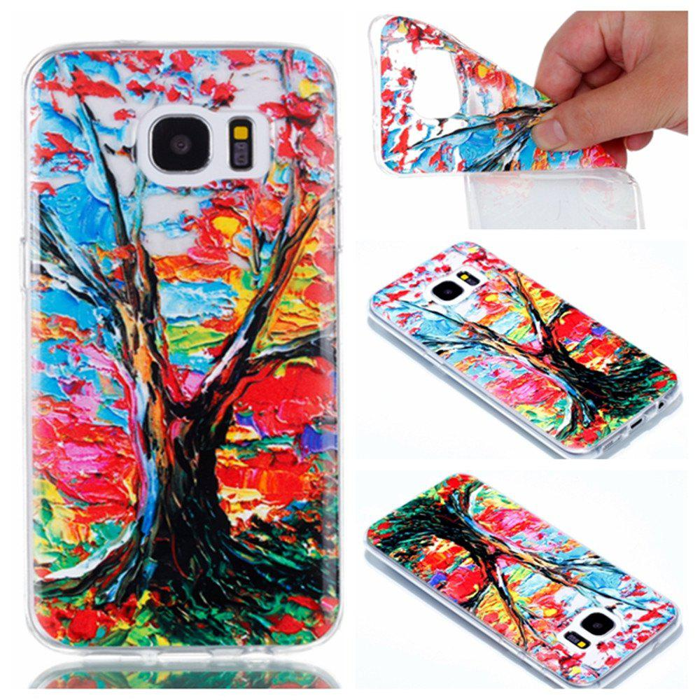 for Samsung S7 Edge Colorful Tree Painted Relief Soft Clear TPU Phone Casing Mobile Smartphone Cover Case - COLOUR