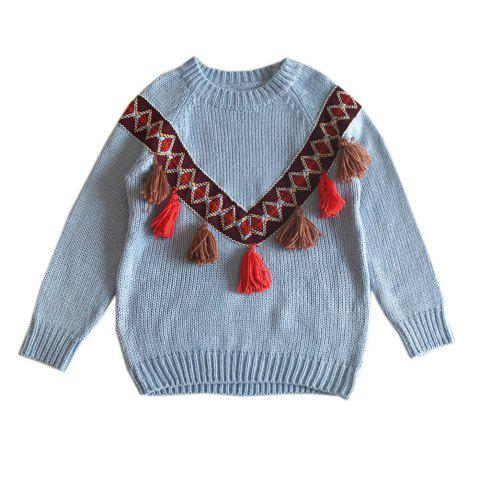 National Wind Tassel Loose Round Neck Sweaters - BLUE ONE SIZE