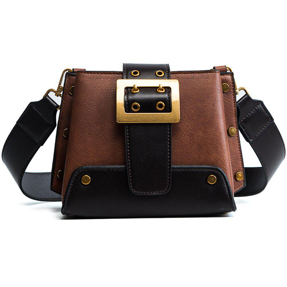 Female Wild Messenger Rivets Fashion Atmospheric Wide Shoulder Strap Shoulder Bag - BROWN
