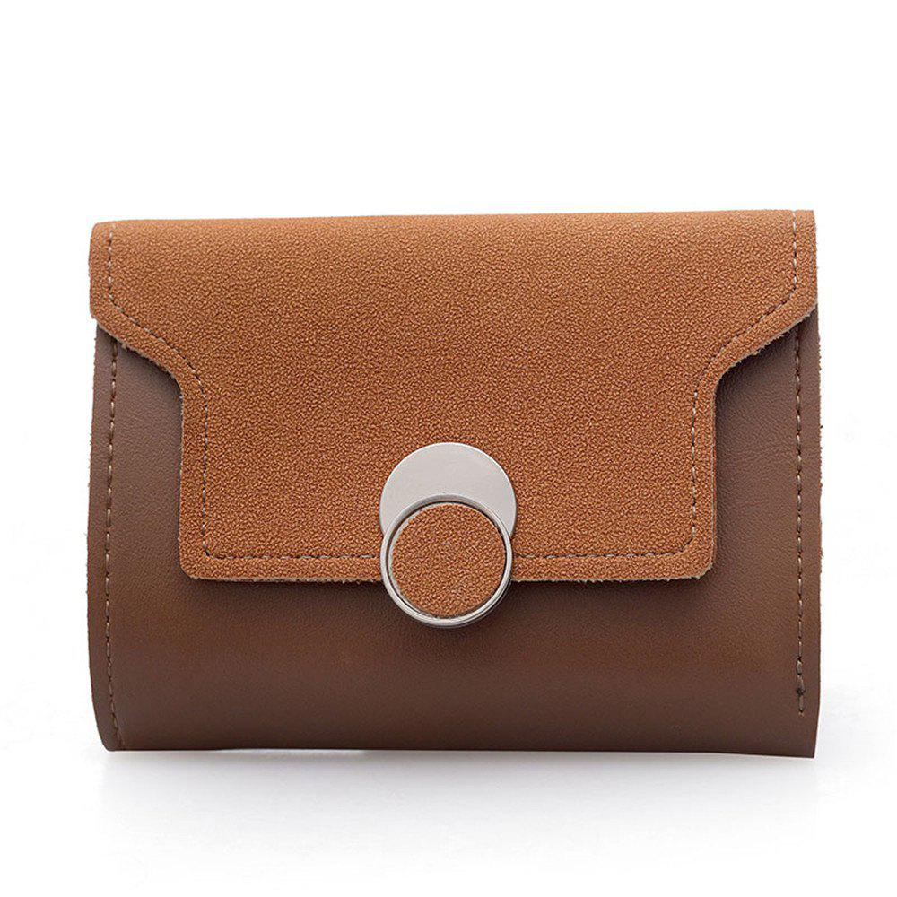 Women'S Purse Long Frosted Multi-Functional Short Wallet Clutch - BROWN