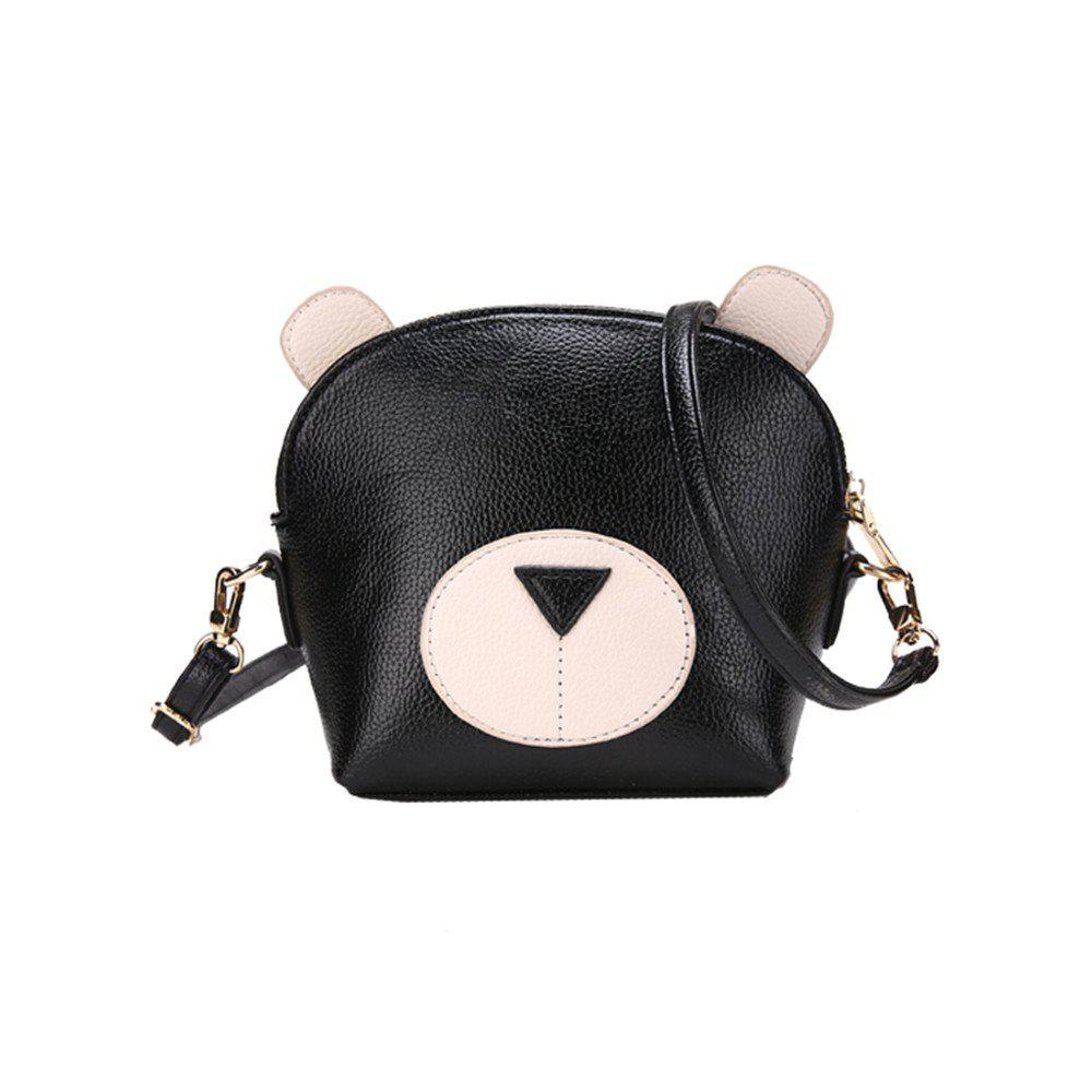 Hit Color Cute Bear Tide Handbags Small Panda Shoulder Messenger Bag - BLACK