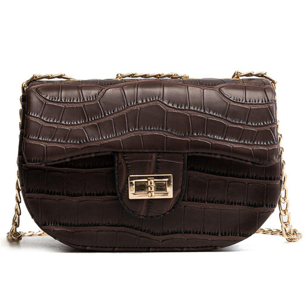 Chain Crocodile Pattern Portable Shoulder Messenger Bag Female Small Square Package - COFFEE