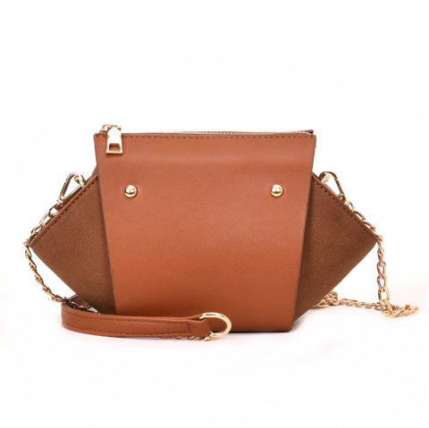 Fashion Rivets Messenger Female Scrub Portable Shoulder Wild Chain Wings Package - BROWN