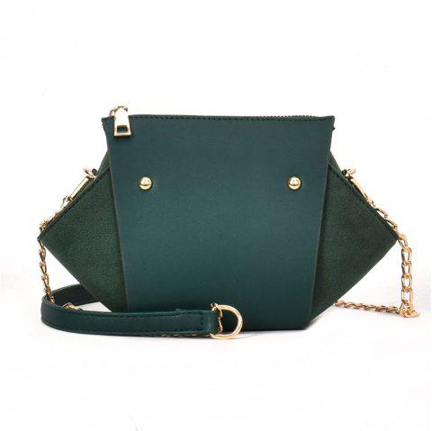 Fashion Rivets Messenger Female Scrub Portable Shoulder Wild Chain Wings Package - GREEN