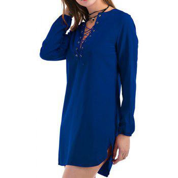 Fashion Casual Wild Long-Sleeved Dress - BLUE S