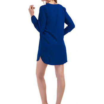 Fashion Casual Wild Long-Sleeved Dress - BLUE L