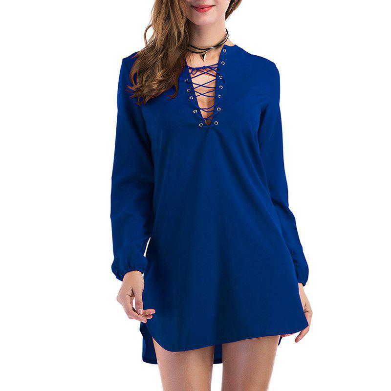 Fashion Casual Wild Long-Sleeved Dress - BLUE M