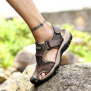 New Leather Hollow Casual Sandals - DEEP BROWN 44
