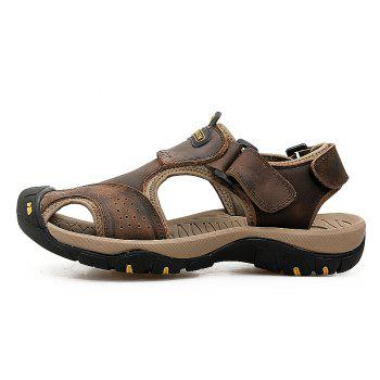 New Leather Hollow Casual Sandals - DEEP BROWN 41