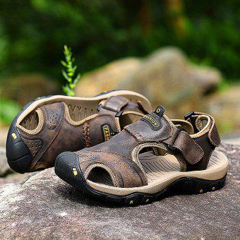 New Leather Hollow Casual Sandals - DEEP BROWN 40