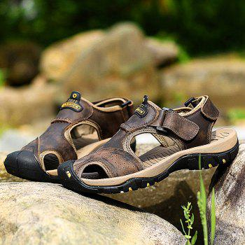 New Leather Hollow Casual Sandals - DEEP BROWN 38