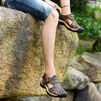New Leather Hollow Casual Sandals - DEEP BROWN 43