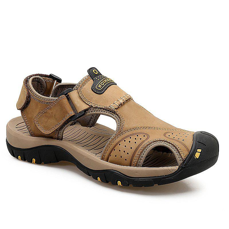 New Leather Hollow Casual Sandals - LIGHT BROWN 43