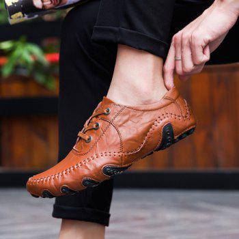 The New Leather Octopus Lace Business Casual Shoes - BROWN 44