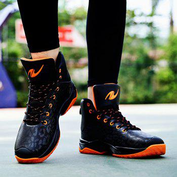 The Leopard Basketball New High Top Sneakers - ORANGE BLACK 41