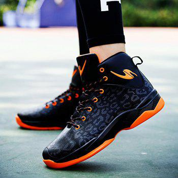 The Leopard Basketball New High Top Sneakers - ORANGE BLACK 42