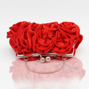 The silk flower with diamond evening clutch bag and wedding handbag -  RED