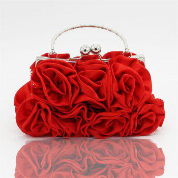 The silk flower with diamond evening clutch bag and wedding handbag - RED RED