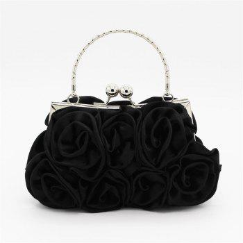 The silk flower with diamond evening clutch bag and wedding handbag - BLACK BLACK