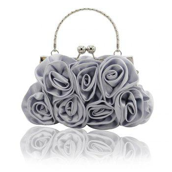 The silk flower with diamond evening clutch bag and wedding handbag - SILVER SILVER