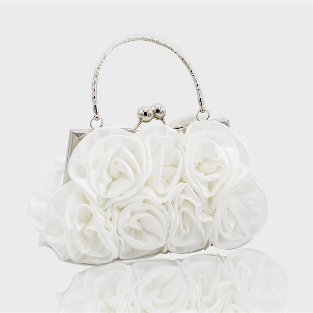 The silk flower with diamond evening clutch bag and wedding handbag - WHITE
