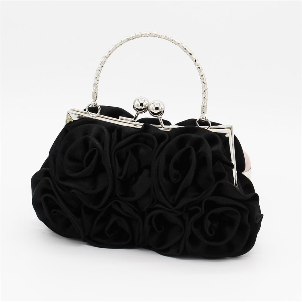 The silk flower with diamond evening clutch bag and wedding handbag - BLACK