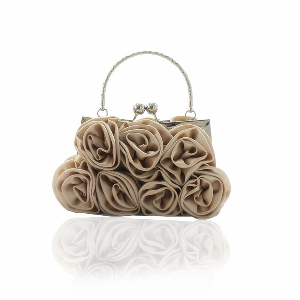 The silk flower with diamond evening clutch bag and wedding handbag - APRICOT
