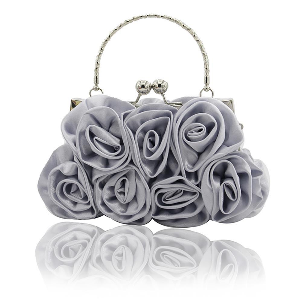 The silk flower with diamond evening clutch bag and wedding handbag - SILVER