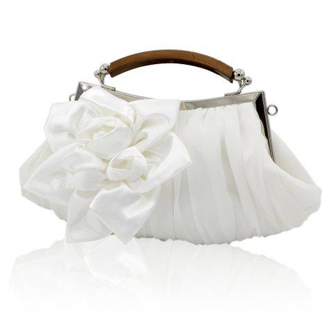 New Arrival Solid Bag Soft Party Top Solid Bag Hasp Wristlets Women Diamond Satin Flower Evening Tote - WHITE