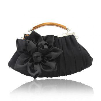 New Arrival Solid Bag Soft Party Top Solid Bag Hasp Wristlets Women Diamond Satin Flower Evening Tote - BLACK BLACK
