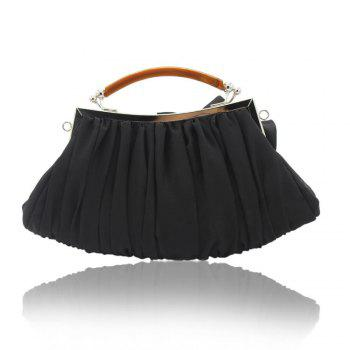 New Arrival Solid Bag Soft Party Top Solid Bag Hasp Wristlets Women Diamond Satin Flower Evening Tote -  BLACK