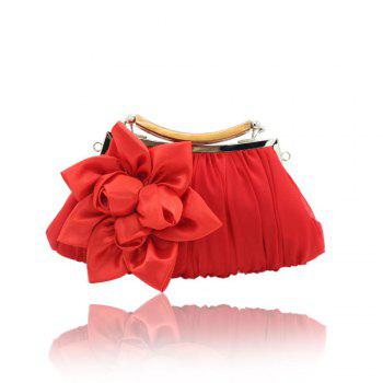 New Arrival Solid Bag Soft Party Top Solid Bag Hasp Wristlets Women Diamond Satin Flower Evening Tote - RED RED