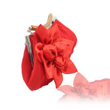 New Arrival Solid Bag Soft Party Top Solid Bag Hasp Wristlets Women Diamond Satin Flower Evening Tote - RED