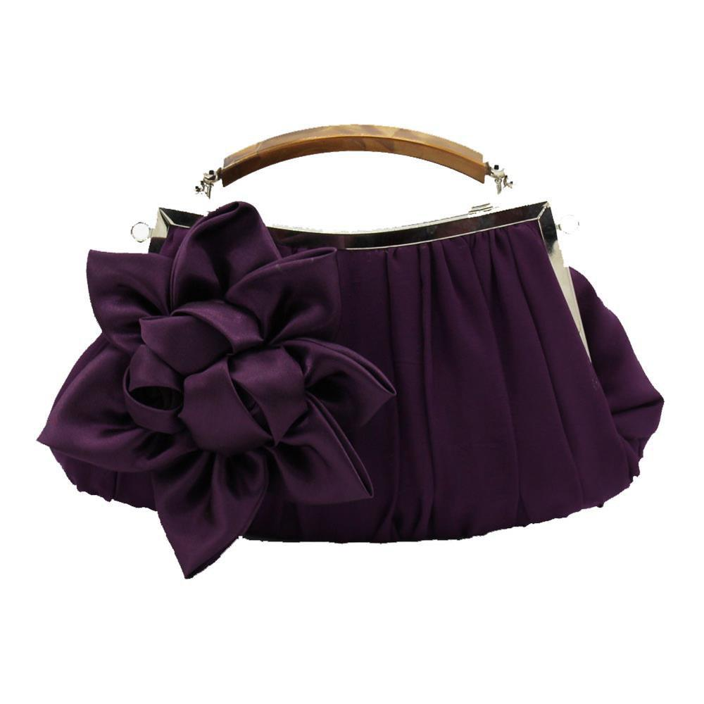 New Arrival Solid Bag Soft Party Top Solid Bag Hasp Wristlets Women Diamond Satin Flower Evening Tote - PURPLE