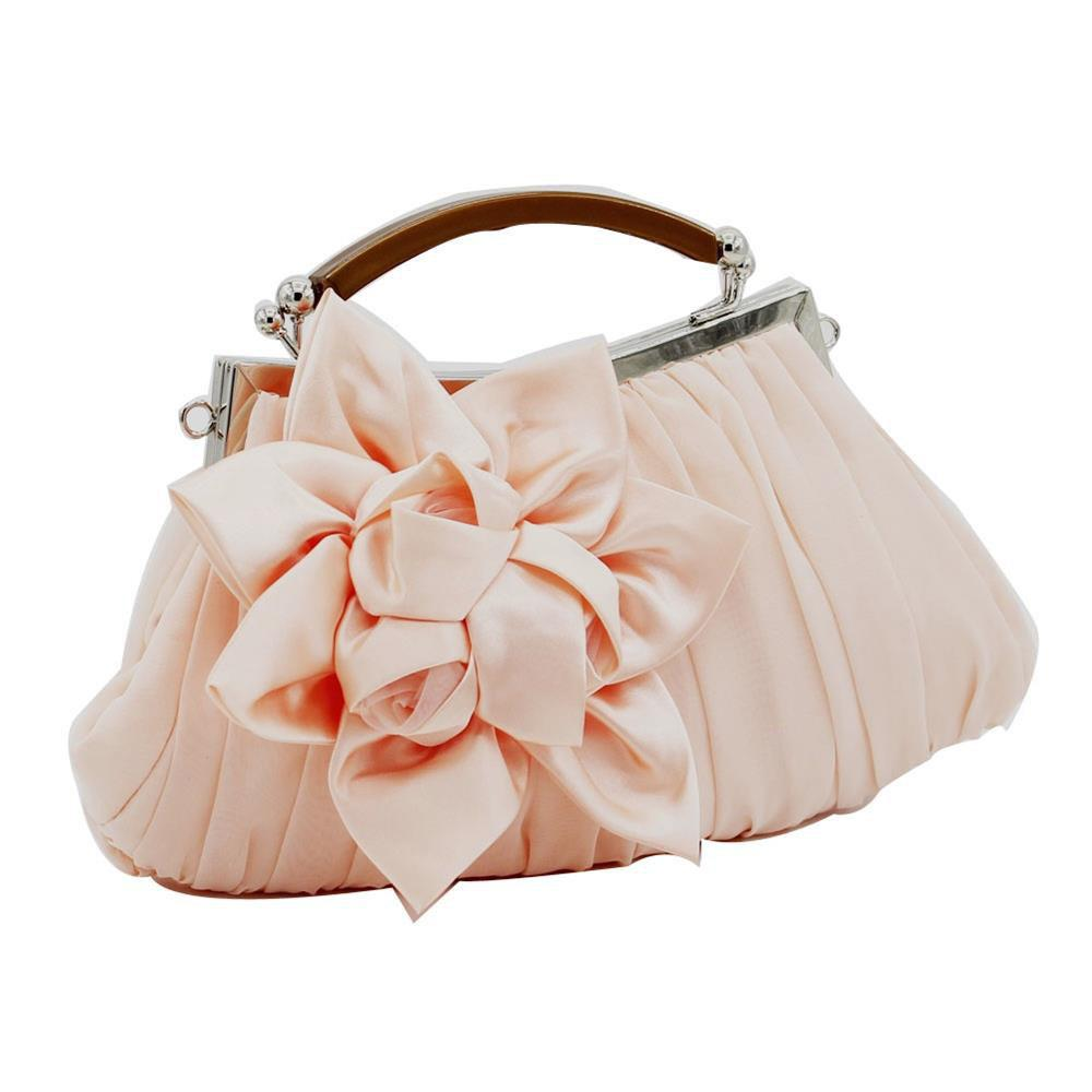 New Arrival Solid Bag Soft Party Top Solid Bag Hasp Wristlets Women Diamond Satin Flower Evening Tote - CHAMPAGNE