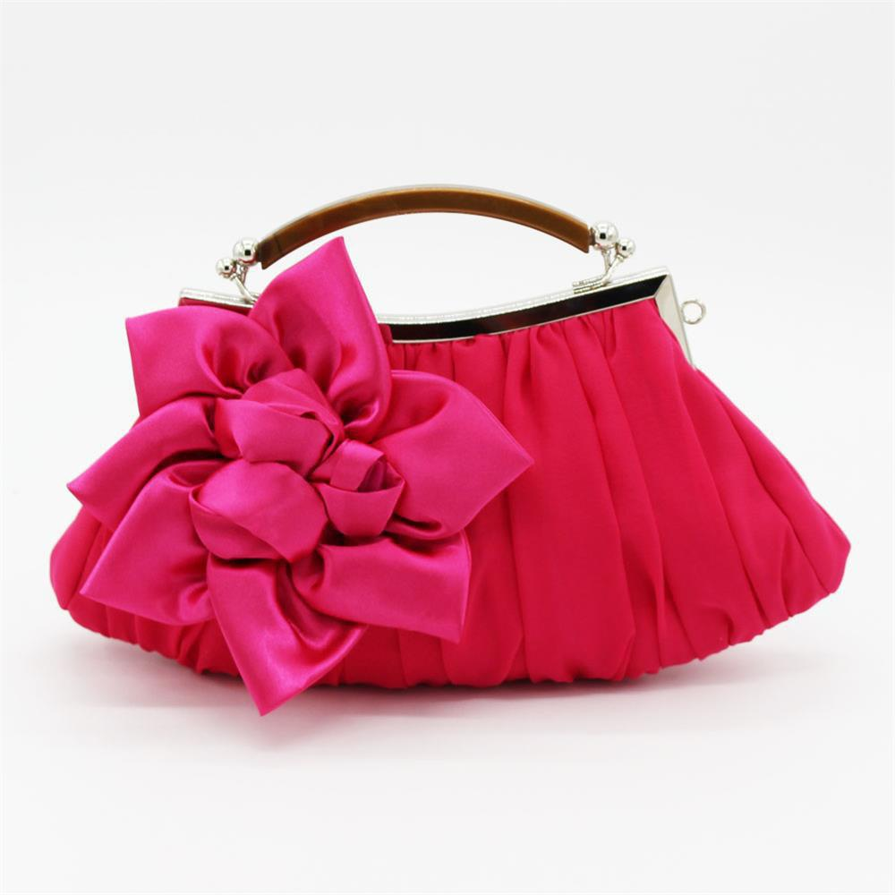 New Arrival Solid Bag Soft Party Top Solid Bag Hasp Wristlets Women Diamond Satin Flower Evening Tote - HOTPINK