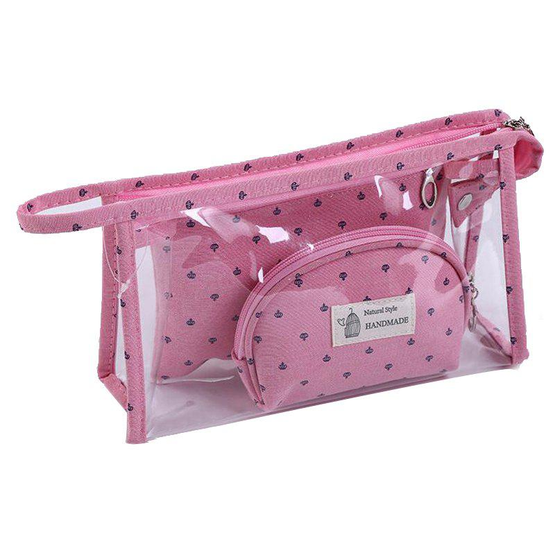 Travel Portable PVC Makeup Bag 3pcs - PINK 24X15X7CM