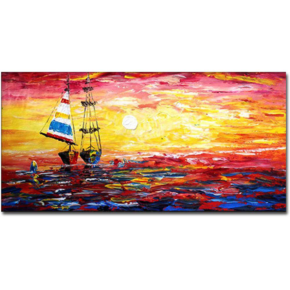Hand Painted Abstract Sunset Sailboat Seascape Oil Painting on Canvas Home Wall Decoration No Frame - COLORMIX 24 X 48 INCH (60CM X 120CM)