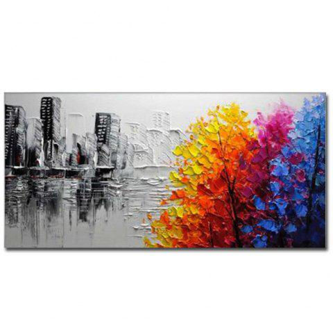 Hand Painted Modern Abstract Landscape OiL Painting on Canvas Livng Room Home Wall Decor No Framed - COLOR 24 X 48 INCH (60CM X 120CM)
