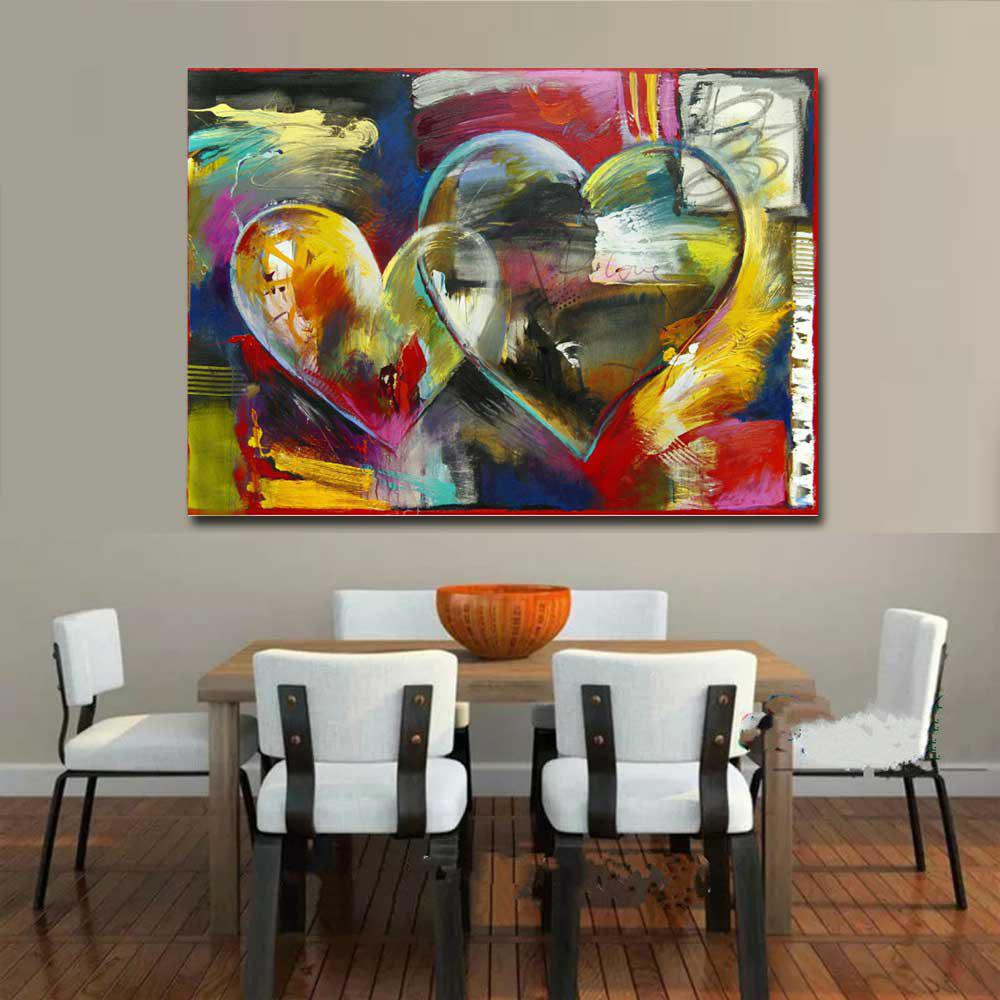 Modern Hand Painted Abstract Heart Sharp Oil Painting on Canvas Living Room Home Wall Decor No Frame - COLORMIX 24 X 48 INCH (60CM X 120CM)