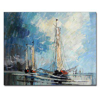 Hand Painted Abstract Sailboat Seascape Oil Painting on Canvas Living Room Bedroom Home Wall Decor No Framed - COLORMIX COLORMIX