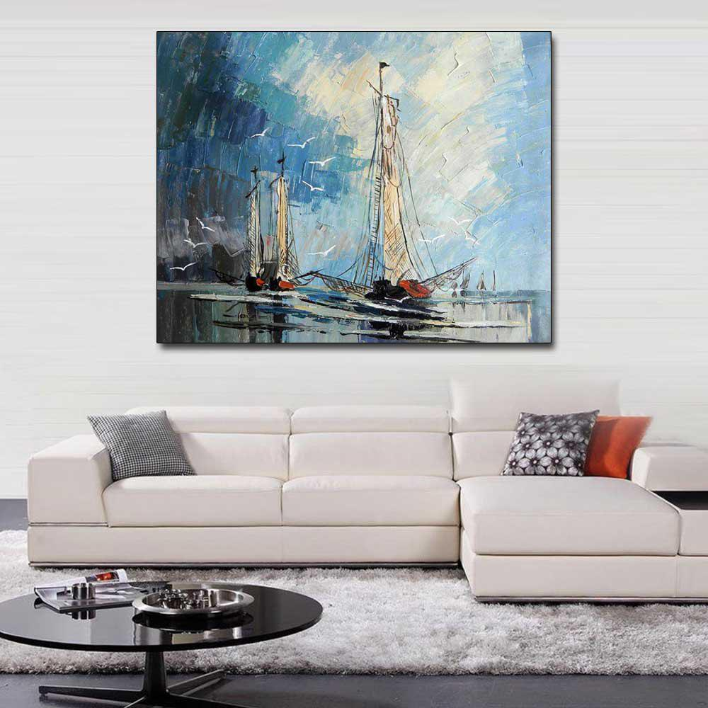 Hand Painted Abstract Sailboat Seascape Oil Painting on Canvas Living Room Bedroom Home Wall Decor No Framed - COLORMIX 24 X 36 INCH (60CM X 90CM)