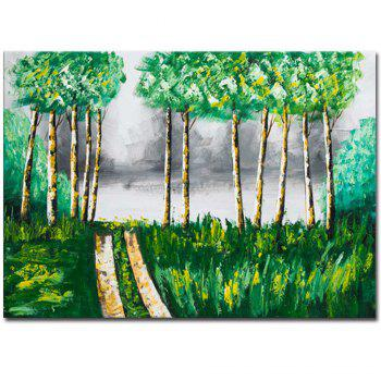 Hand Painted Abstract Forest Landscape Oil Painting on Canvas Wall Art Decoration No Framed - GREEN GREEN