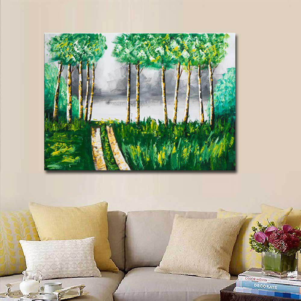 Hand Painted Abstract Forest Landscape Oil Painting on Canvas Wall Art Decoration No Framed - GREEN 24 X 36 INCH (60CM X 90CM)
