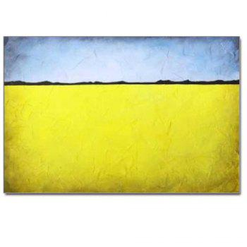 Hand Painted Abstract Oil Painting Living Room Home Wall Decoration - YELLOW YELLOW