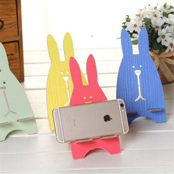 Universal Phone Holder Cute Cartoon Rabbit Wooden Cell Mount Holder for for Smartphone Desk Stand - RED