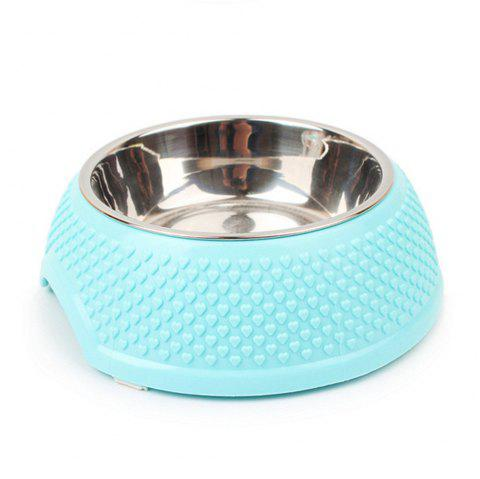 Stainless Steel Plastic Dog Food Bowl - BLUE