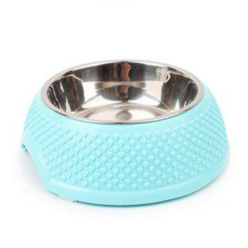 Stainless Steel Plastic Dog Food Bowl - BLUE BLUE